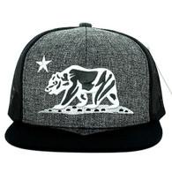 SM097 Cali Bear Snapback Hat Cap (Charcoal & Black)