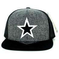 SM097 Star Snapback Cap Hat (Charcoal & Black)