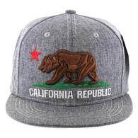 SM9011 Cali Bear Snapback Hat Cap (Solid Heather Grey)