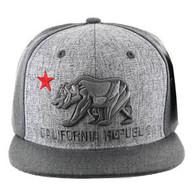 SM9012 Cali Bear Snapback Hat Cap (Heather Grey & Charcoal)