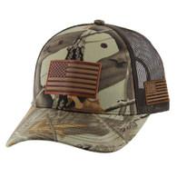 VM019 USA Flag Mesh Trucker Cap (Hunting Camo)