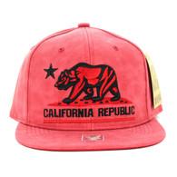 SM800 California Republic PU Snapback (Red & Red)