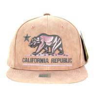 SM800 California Republic PU Snapback (Light Pink & Light Pink)