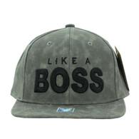 SM800 Like a Boss PU Snapback (Grey & Grey)