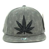 SM800 Marijuana PU Snapback Cap (Grey & Grey)
