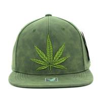 SM800 Marijuana PU Snapback Cap (Olive & Olive)