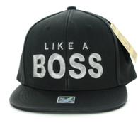 SM800 Like a Boss PU Snapback (Black & Black)