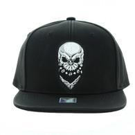 SM800 Skull PU Snapback (Solid Black)