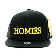 SM800 Homies PU Snapback (Black & Black)