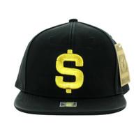 SM800 Dollar PU Snapback Cap (Solid Black)
