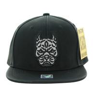 SM800 Pitbull PU Snapback Cap (Solid Black)