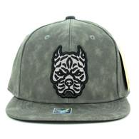 SM800 Pitbull PU Snapback Cap (Solid Grey)