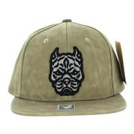 SM800 Pitbull PU Snapback Cap (Solid Brown)
