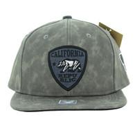 SM800 California Republic Patch PU Snapback (Solid Grey)