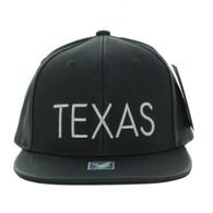 SM800 Texas PU Snapback Cap (Solid Black)