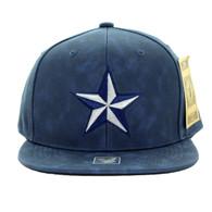 SM800 Star PU Snapback Cap Hat (Solid Navy)