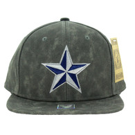 SM800 Star PU Snapback Cap Hat (Solid Grey)