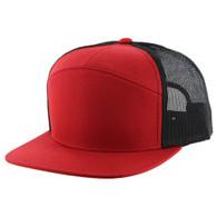 K707 7 Panel Mesh Trucker Cap (Red & Red & Black)