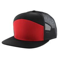 K707 7 Panel Mesh Trucker Cap (Red & Black & Black)