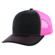 K815 Blank Cotton Classic Mesh Trucker Cap (Black & Neon Pink)