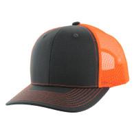 K815 Blank Cotton Classic Mesh Trucker Cap (Charcoal & Neon Orange)