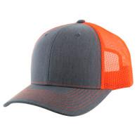 K815 Blank Cotton Classic Mesh Trucker Cap (Heather Grey & Neon Orange)