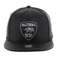 SM800 California Republic Patch PU Snapback (Solid Black)