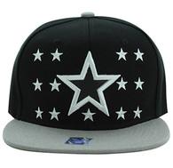 SM492 Big Star Snapback Cap (Black & Light Grey)