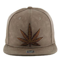 SM800 Marijuana PU Snapback Cap (Brown & Brown)