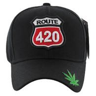VM187 Marijuana Velcro Cap (Solid Black)