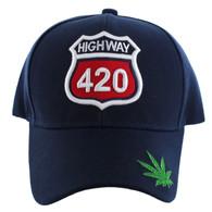 VM187 Marijuana Velcro Cap (Solid Navy)