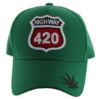 VM187 Marijuana Velcro Cap (Solid Kelly Green)
