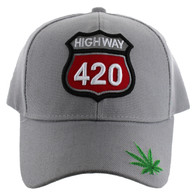 VM187 Marijuana Velcro Cap (Solid Light Grey)