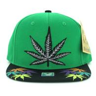 SM844 Marijuana Snapback Cap (Kelly Green & Black)