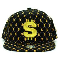 SM093 Dollar Sign Snapback Cap (Solid Black)