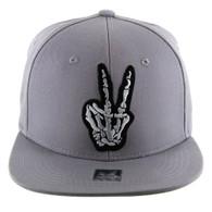 SM612 Finger Peace Snapback Cap (Solid Grey)