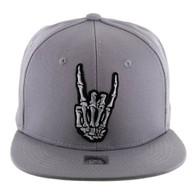 SM612 Finger Hang Loose Snapback Cap (Solid Grey)