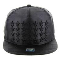 SM772 Star Snapback Cap (Solid Black Camo)