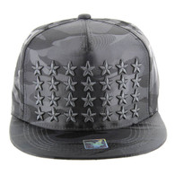 SM772 Star Snapback Cap (Solid Grey Camo)