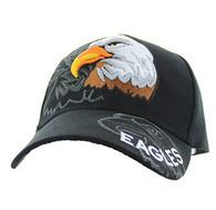 VM129 For Kids American USA Eagle Velcro Cap (Solid Black)