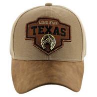 VM644 Texas Cotton Velcro Cap (Khaki & Brown)