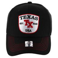 VM9011 Texas Baseball Velcro Cap (Solid Black)