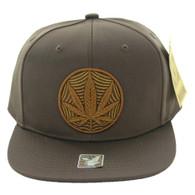 SM017 Marijuana Snapback Cap (Solid Brown)