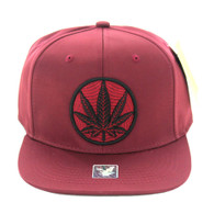 SM017 Marijuana Snapback Cap (Solid Burgundy)