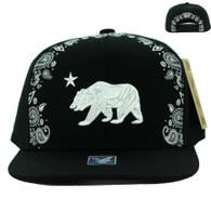 SM021 Cali Bear Snapback Cap (Solid Black)