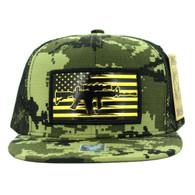 SM090 USA Flag Snapback Cap (Solid Forest Digital Camo)