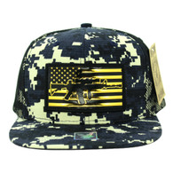 SM090 USA Flag Snapback Cap (Solid Navy Digital Camo)