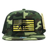 SM090 USA Flag Snapback Cap (Solid Military Camo)