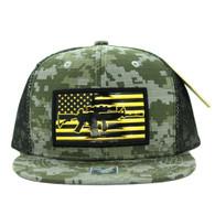 SM090 USA Flag Snapback Cap (Solid ACU Digital Camo)