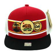 SM244 Cali Bear Snapback Cap (Red & White)